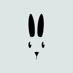 rabbit silhouette - vector illustration
