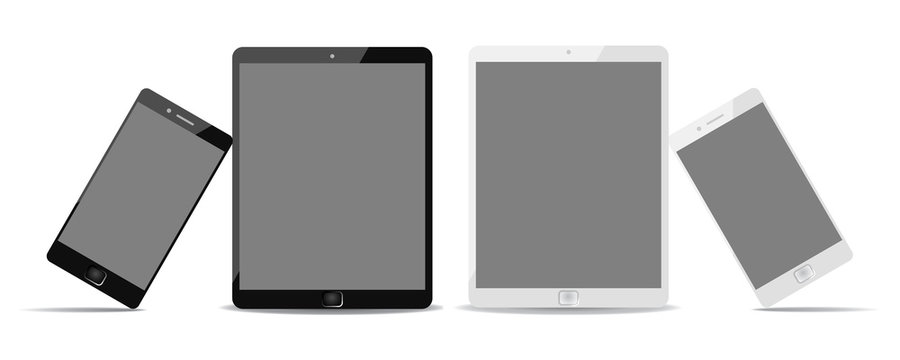 Black and white phone lean on black and white tablet. Devices with black display - stock vector