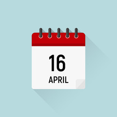 April 16 Easter. Calendar icon, Holidays in April