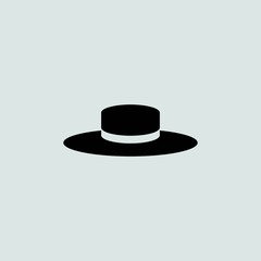 Cowboy hat vector icon. Effect of folded paper. Flat design