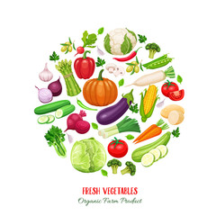 Poster round composition with colorful vegetables