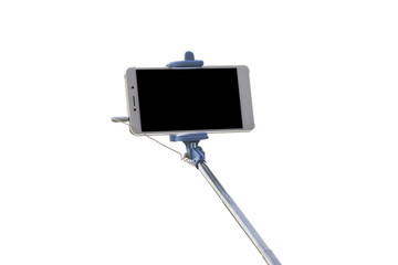 Selfie stice with mobile phone isolated on white background
