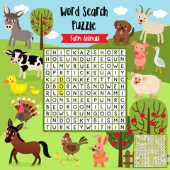 Words search puzzle game of farm animals for preschool kids activity worksheet layout in A4 colorful printable version. Vector Illustration.