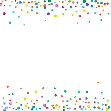 Dense watercolor confetti on white background. Rainbow colored watercolor confetti borders. Colorful hand painted illustration.