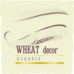 Vintage retro decoration banner with wheat ears on craft beige background.