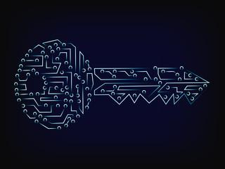 cyber microchip key vector