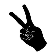 Peace symbol gesture.Hippy single icon in black style vector symbol stock illustration web.