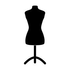 Plastic dummy on the stand.Sewing or tailoring tools kit single icon in black style vector symbol stock illustration.