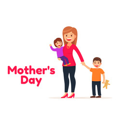 Happy Mothers day. Mother's love. Mom and kids. Cute illustration cartoon style.