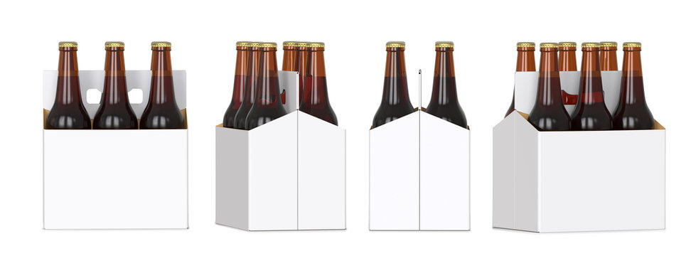 Six brown beer bottles in white corton pack. Four Different views 3D render, isolated on white background