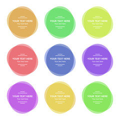 Set of vector colorful round banners. Abstract vector shapes for design. Banners with sample text.