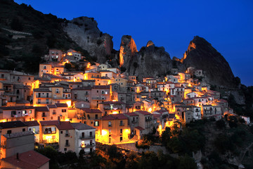 Castelmezzano village by night, Potenza district, Basilicata, Italy