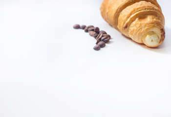 croissant, nd coffee beans on white background,