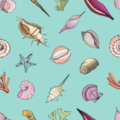 Hand drawn seamless pattern with seashells. Vector colorful background.