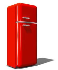 3d, nostalgischer Kühlschrank rot, freigestellt