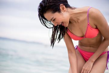 Pretty girl smile in her bikini