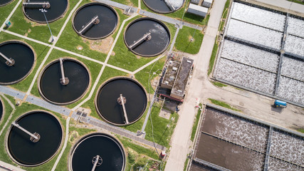 Sewage Farm: waste water treatment plant, aerial view