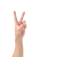 Man hand V sign symbol isolated on white background