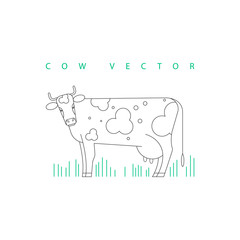 Isolated image of a cow. Line style.