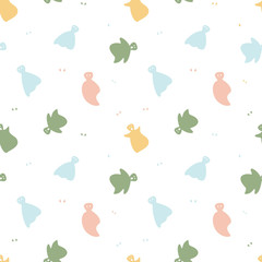 Seamless pattern with colorful funny ghosts on a white background. Vector