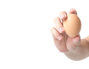 Man hand holding egg on white background