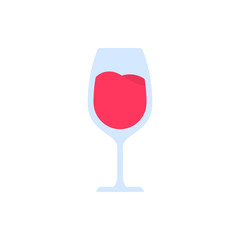 Red wine glass isolated on white background. Vector icon