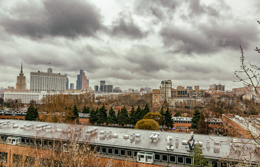 MOSCOW, RUSSIA - APRIL 8, 2017: View from the roof to the building of the Russian Government House in cloudy weather
