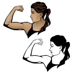 Female Fitness Woman Flexing Arm Vector Illustration