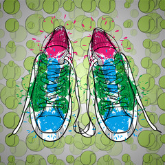 illustraton of drawing isolated objects sneakers with tennis ball. Hand drawn and doodle footwear for logo.