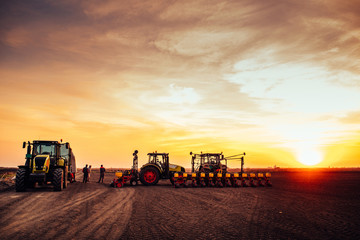 Fototapete - Agricultural mechanization on sunset