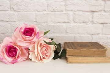 Pink Rose Mock Up. Styled Stock Photography. Floral Frame, Styled Wall Mock Up. Rose Flower Mockup, Old Books, Valentine Mothers Day Card, Giftcard, White Desk Mockup