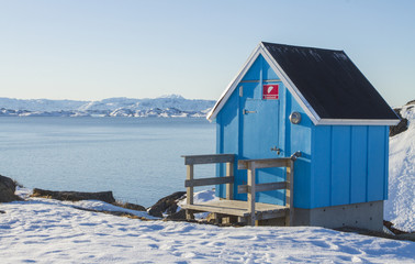 A view to Arctic sea from the small town of Maniitsoq in Greenland - West coast - Arctic sea
