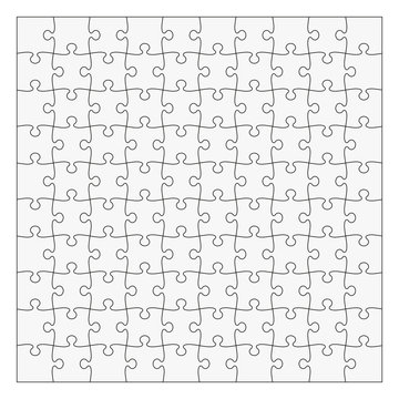 Simple Classic puzzle with symmetrical elements, 10x10 pieces. Easy to remove separate pieces