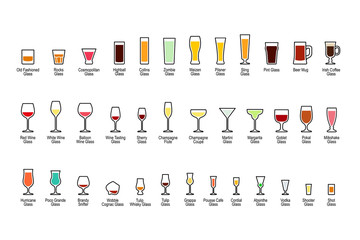 Bar glassware with titles, color icons set on white background, vector illustration