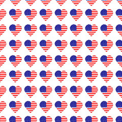 Seamless pattern with  hearts from american flags