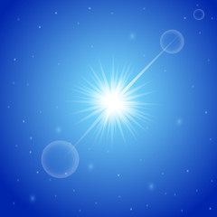 Bright sun with lens flare in the clear blue sky. Hello Summer banner. Abstract background for your desktop with the place for your text. Vector illustration