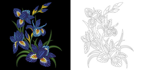 Embroidery design. Collection of floral elements for patches and stickers. Coloring book page with iris flowers bouquet.