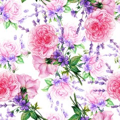 Seamless pattern with roses and lavander