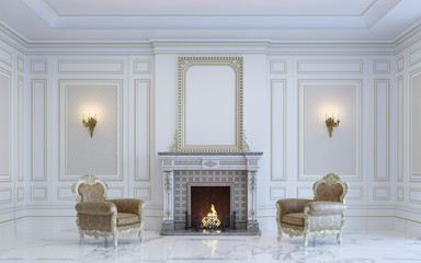A classic interior is in light tones with fireplace . 3d rendering.