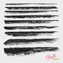Chalk and charcoal. A set of vector brushstrokes. Paint spots. Grunge texture. A high resolution. Brushes are stored in the palette. Designed for registration of various design projects.