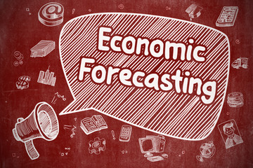 Speech Bubble with Text Economic Forecasting Doodle. Illustration on Red Chalkboard. Advertising Concept.