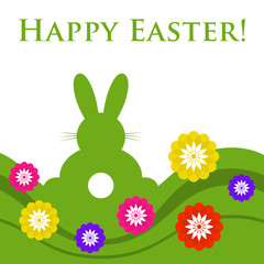 Easter colored greeting card - rabbit with flowers