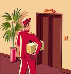 Bellman in red livery, which is preparing to enter an elevator, to personally deliver a parcel