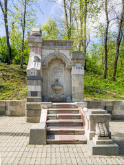 Fountain of the Mines in Carol I Park, Bucharest. It was built in 1906 by the Service of Mines and Quarries from the Ministry of Agriculture, Industries, Trade and Domains.