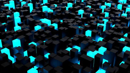 Abstract computer background with blue illuminated