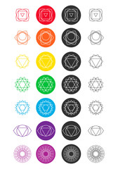 Set of chakra icons. Colored and black and white. Line art.