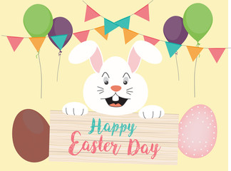 White bunny, rabbit and Easter eggs with celebrating elements