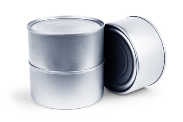 White Blank Tincan Metal Tin Can, Canned Food.