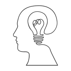 monochrome silhouette of human head with bulb light inside vector illustration