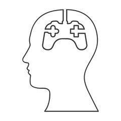 monochrome silhouette of human head and gamer mind vector illustration